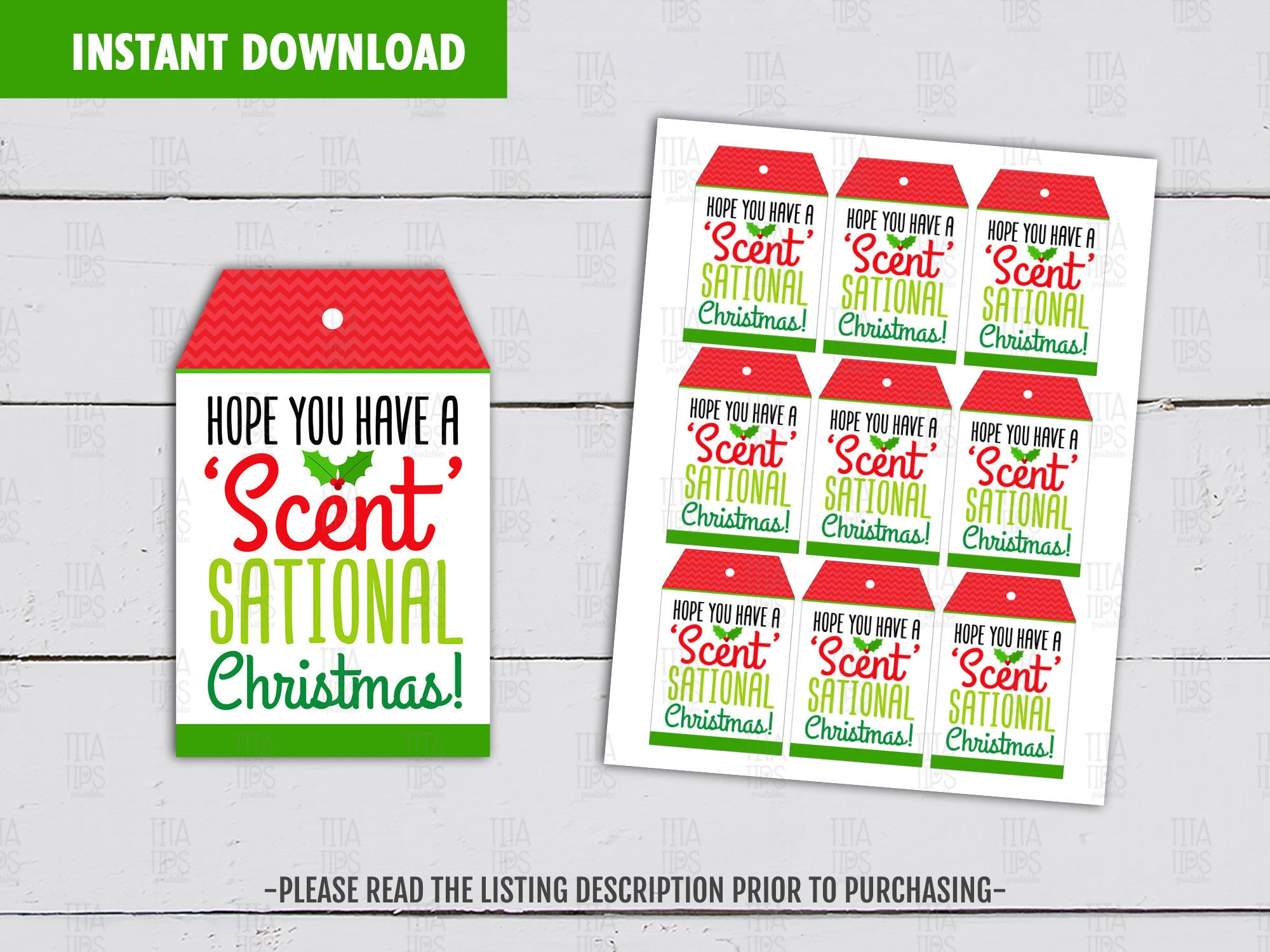Hope you have a Scentsational Christmas Candle Printable Card, Holidays Favor Tags, Instant Download - TitaTipsPrintables