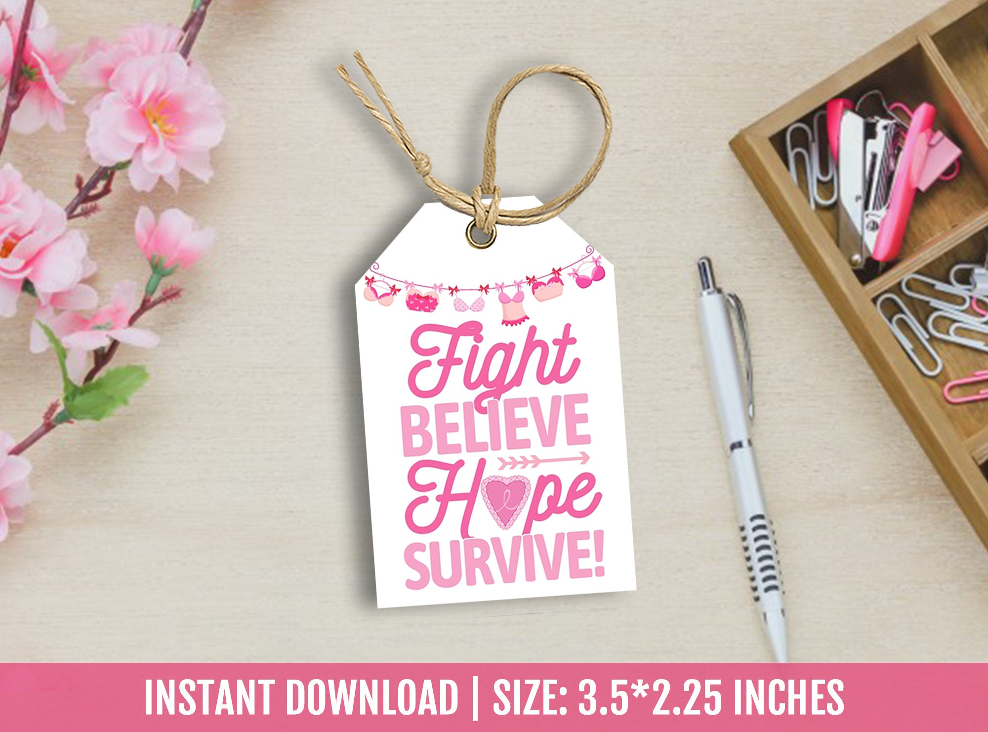 Breast Cancer Thank You Tags, Fight, Believe, Hope, Survive favor tags, Awareness, Survivor Support Gift Tag Ideas, [INSTANT DOWNLOAD] - TitaTipsPrintables
