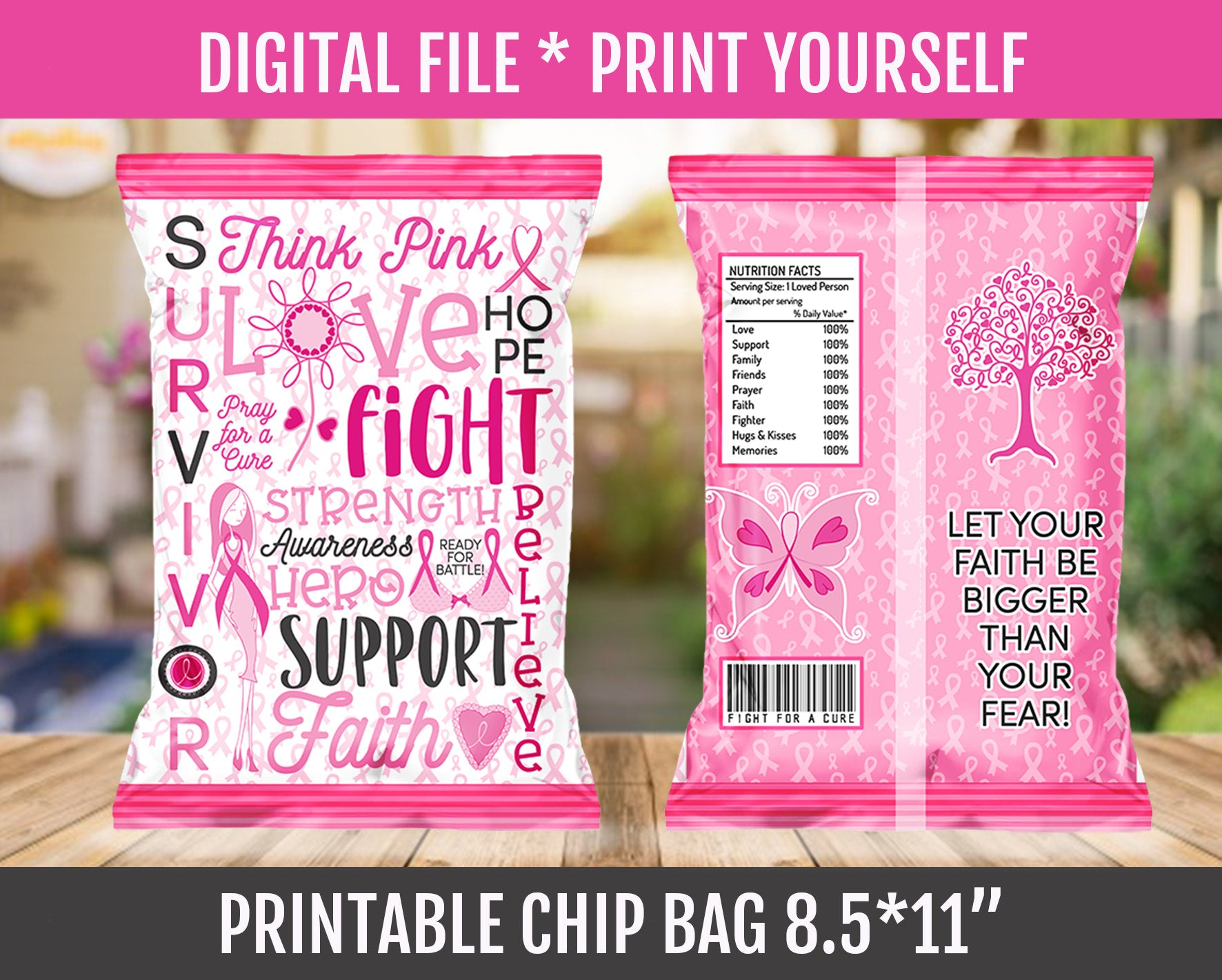Breast Cancer Chip Bag, Awareness Month, Survivor Support Gift Ideas, Instant Download - TitaTipsPrintables