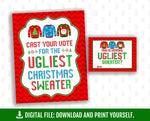 Printable Ugly Christmas Sweater Party Vote Cards and Sign, Tacky Party Decoration, Instant Download - TitaTipsPrintables