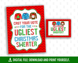 Printable Ugly Christmas Sweater Party Bundle, Eat Drink & Be Ugly, Welcome Table Sign, Ugly and Bright, Instant Download - TitaTipsPrintables