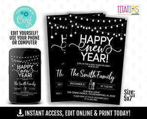 Editable New Year's Eve Party Invitation, Printable Cheers Party Invite, Corjl Template, Instant Access - TitaTipsPrintables