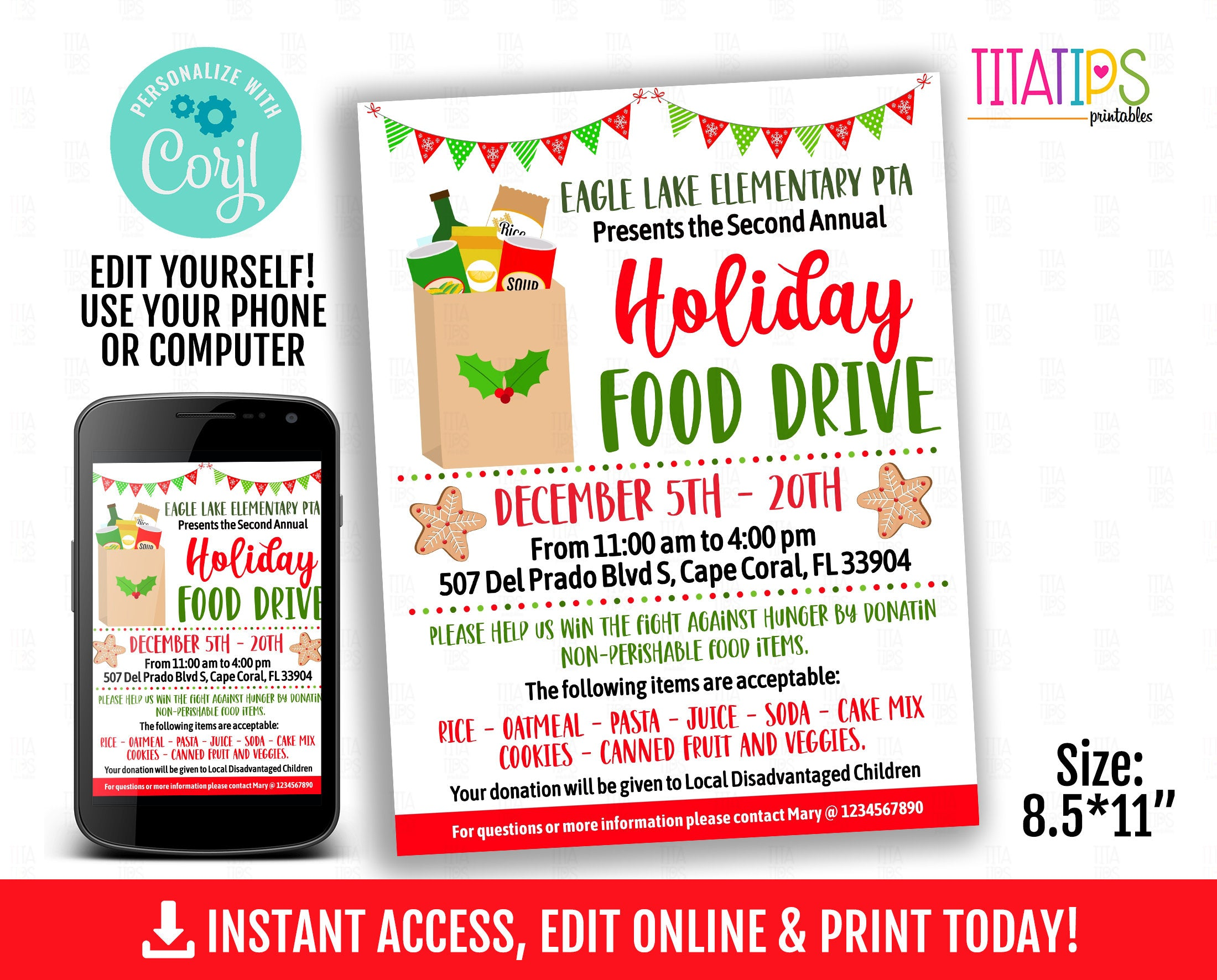 Holiday Food Drive Editable  Flyer, Christmas Printable Event Poster, Canned Food Fundraiser School flyer, INSTANT ACCESS - TitaTipsPrintables