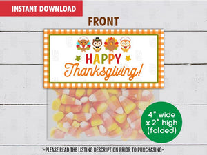 Happy Thanksgiving Treat Bag Topper, Printable Turkey and Owl Goodies Topper, Instant Download - TitaTipsPrintables