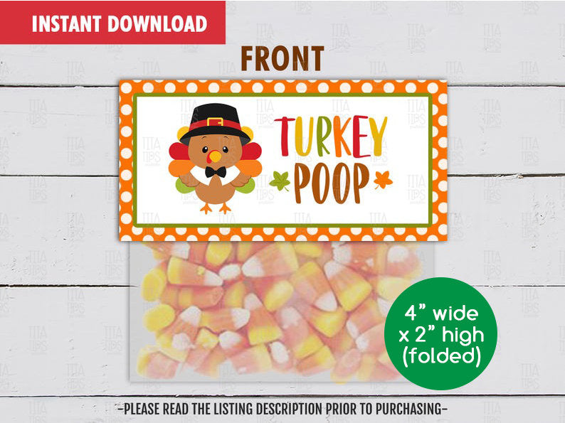 Turkey Poop Treat Bag Topper, Printable Thanksgiving Goodies Topper, Instant Download - TitaTipsPrintables