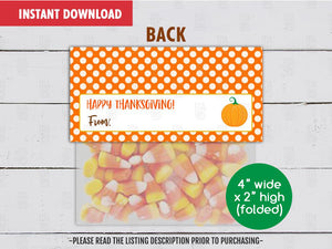Thank you Treat Bag Topper, Printable Thanksgiving Goodies Topper, Instant Download - TitaTipsPrintables