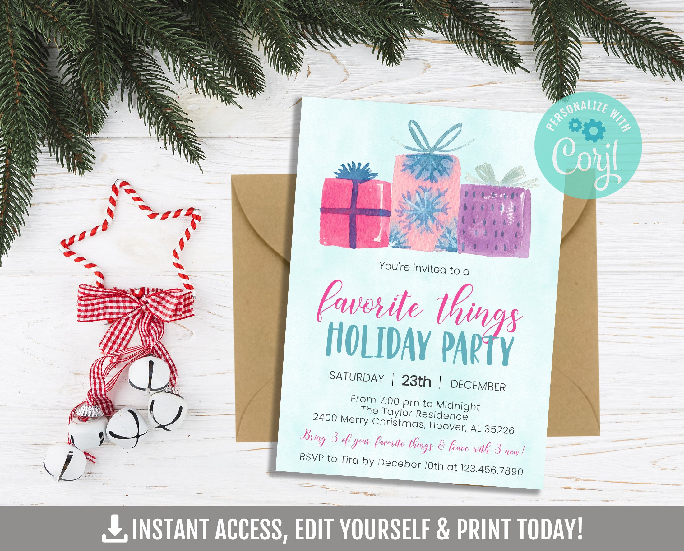 EDITABLE Favorite Things Invitation, Gift Exchange Printable Invite, Corjl Template, Instant Access, DIGITAL - TitaTipsPrintables