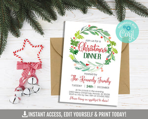 EDITABLE Christmas Dinner Invitation, Watercolor Holiday Party Printable Invite, Holly Wreath, Corjl Template, Instant Access, DIGITAL - TitaTipsPrintables