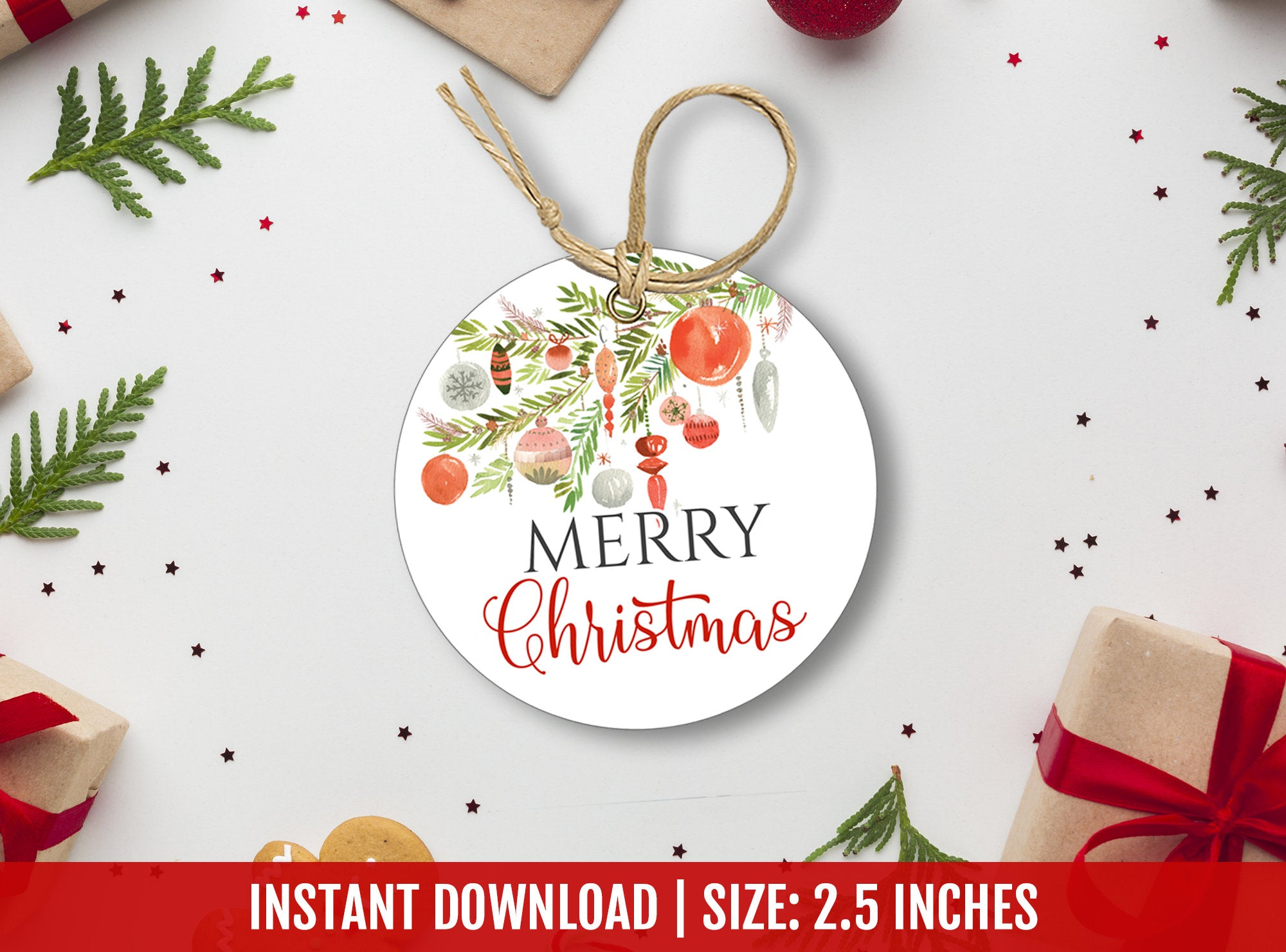 Merry Christmas Favor Tag, Happy Holidays Round Labels, Printable Circle Card, DIGITAL DOWNLOAD - TitaTipsPrintables