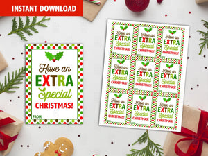 Have an Extra Special Christmas Favor Tags, Holly Printable Card, Instant Download - TitaTipsPrintables