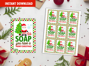 We SOAP you have a Merry Christmas Printable Card, Soapin' Classmate Holidays Exchange, Instant Download - TitaTipsPrintables