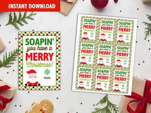 Soapin' you have a Merry Christmas Printable Card, Classmate Holidays Exchange, Instant Download - TitaTipsPrintables