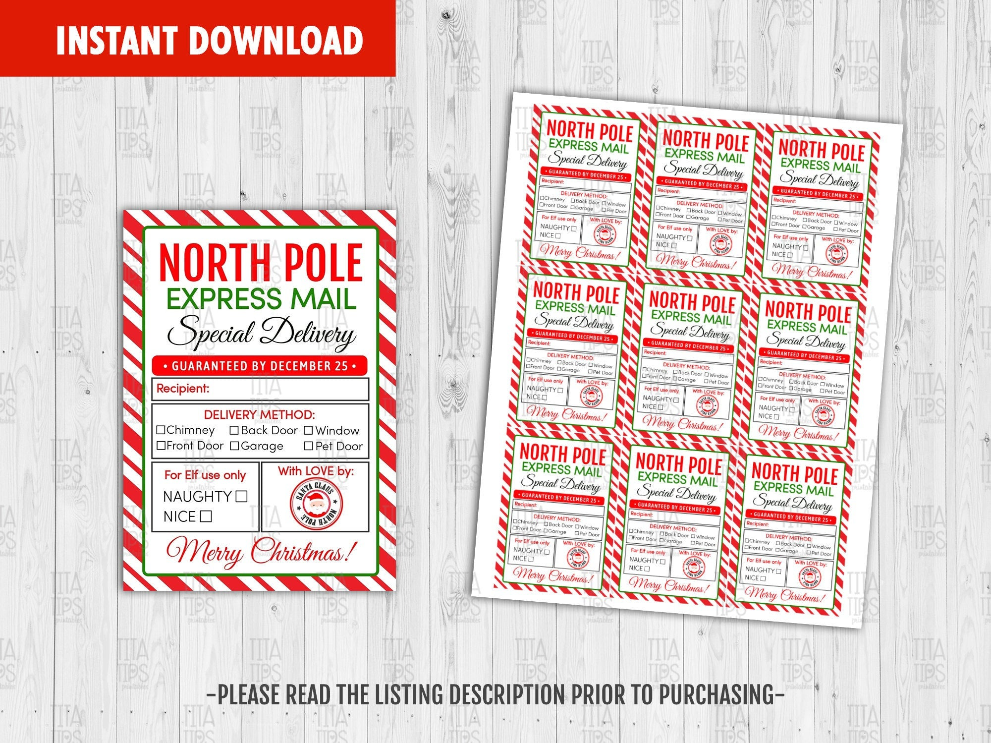 Express Mail Special Delivery Tags, Santa Claus North Pole Label, Merry Christmas Printable Card, Instant Download - TitaTipsPrintables
