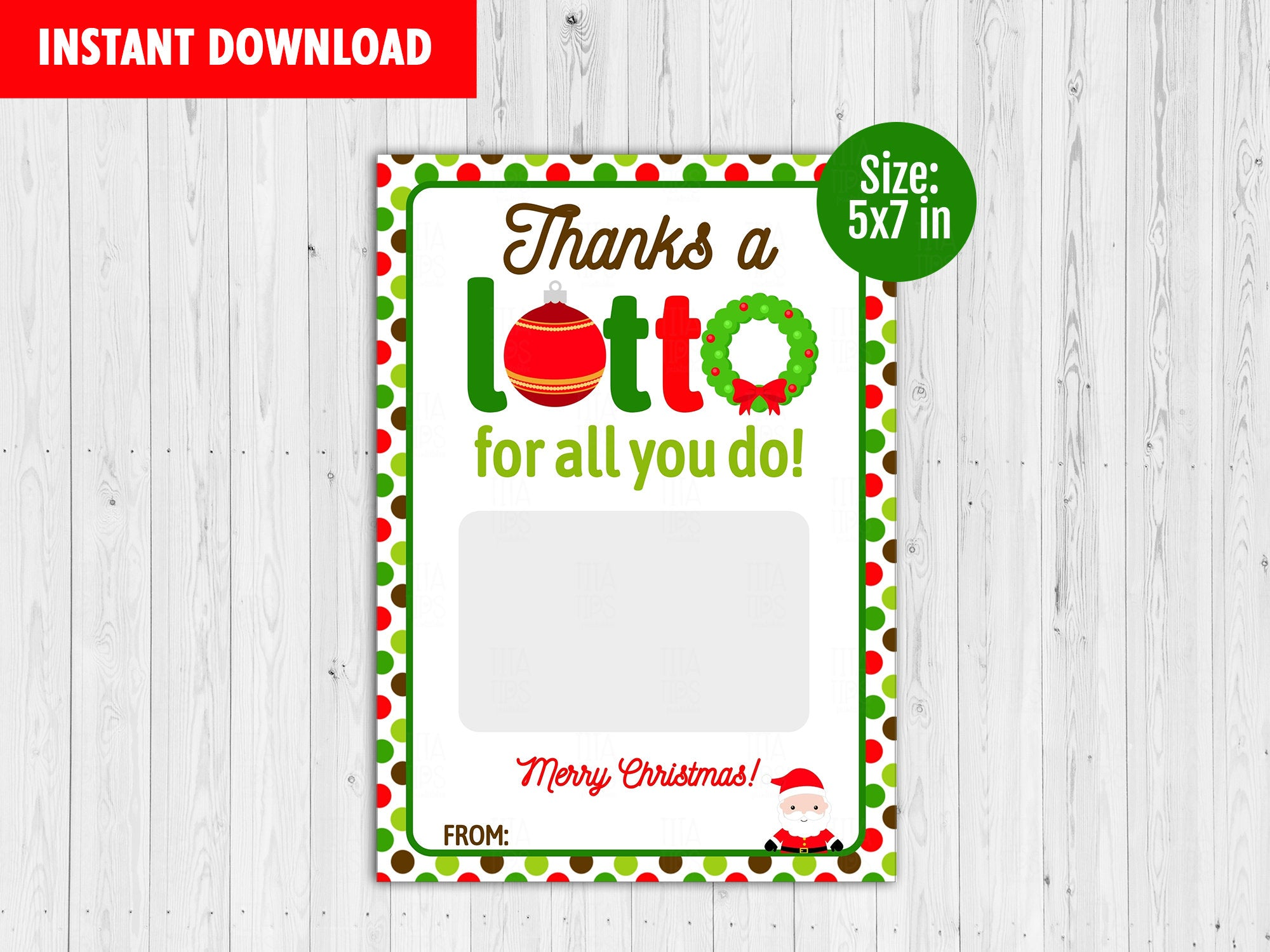 Thanks a Lotto Gift Card Holder, Printable Merry Christmas Card, Instant Download - TitaTipsPrintables