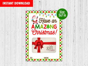 Have an Amazing Christmas Gift Card Holder, Printable Merry Christmas Card, Instant Download - TitaTipsPrintables