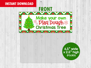 Make Your Own Play Dough Christmas Tree Bag Topper, Printable Christmas Gifts Ideas, Instant Download - TitaTipsPrintables