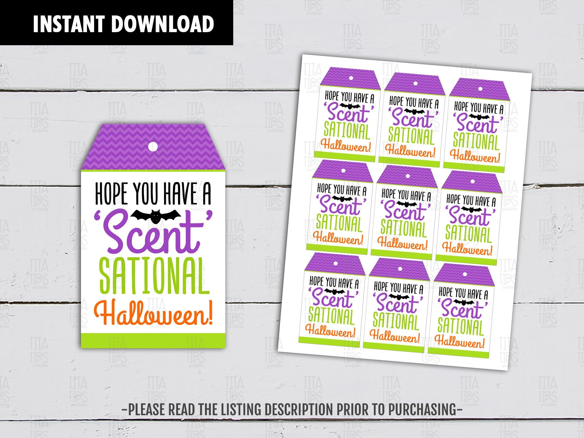 Hope you have a Sensational Halloween, Candle Printable Card, Halloween Favor Tags, Instant Download - TitaTipsPrintables