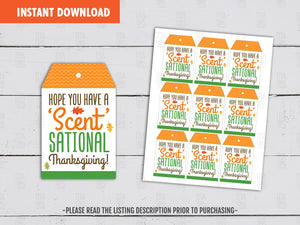 Hope you have a SCENT-SATIONAL Thanksgiving Candle Printable Card, Fall Favor Tags, Instant Download - TitaTipsPrintables