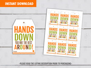 Hands Down you are the Best Around Hang Tags, Autumn Gift Tag Ideas Instant Download - TitaTipsPrintables