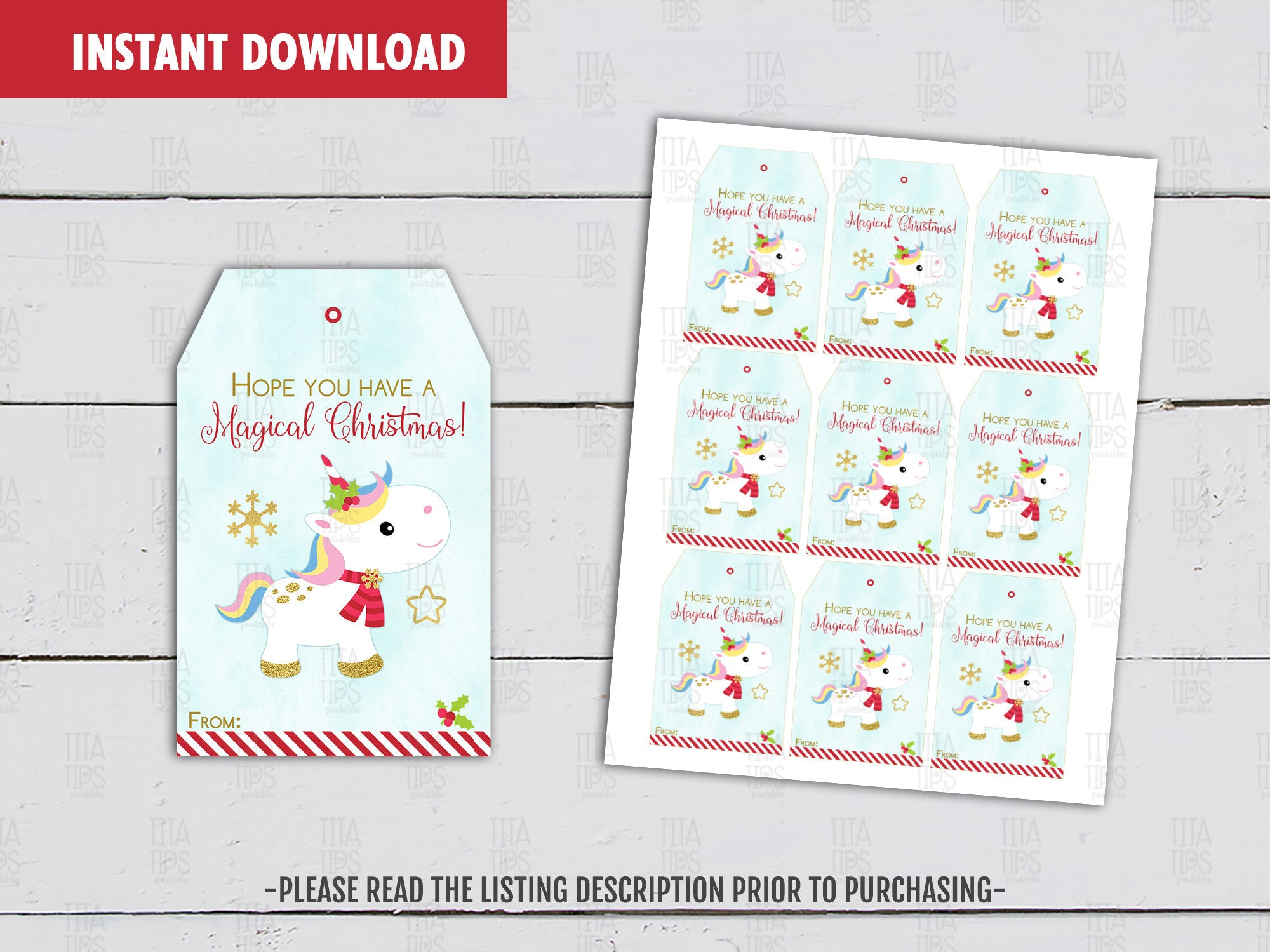Hope you have a Magical Christmas Gift Tag,  Printable Unicorn Card, Holidays Favor Tags, Instant Download - TitaTipsPrintables