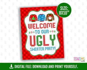 Welcome to Our Ugly Party Sign, Tacky Sweater Sign, Ugly Party Table Sign, 8x10 inches, Instant Download - TitaTipsPrintables