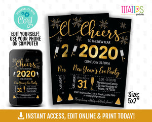 Editable New Year's Eve Party Invitation, Printable Cheers Party Invite, Black and Gold Corjl Template, Instant Access - TitaTipsPrintables