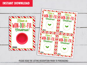 Have an WonDOHful Christmas Season! Play Dough Card DIY Printable, Exchange Tag, Neighbor Gift, Instant Download - TitaTipsPrintables