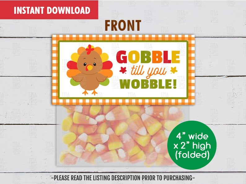 Gobble till you Wobble Treat Bag Topper, Printable Thanksgiving Goodies Topper, Instant Download - TitaTipsPrintables