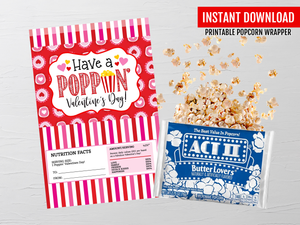 Valentine's Microwave Popcorn Wrapper, Poppin' Valentine Gift Idea, Printable Digital Template, INSTANT DOWNLOAD - TitaTipsPrintables