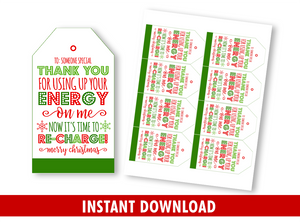 Energy Favors Tags, Time to recharge Card, Battery Gift Tag Ideas  [INSTANT DOWNLOAD]