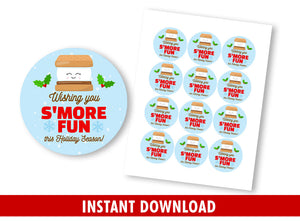 Wishing you S'more Fun Gift Tags, School Exchange Round Label, Circle Stickers Ideas  [INSTANT DOWNLOAD]