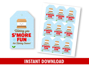 Wishing you S'more Fun Gift Tags, School Exchange Gift Favors Tags Ideas  [INSTANT DOWNLOAD]