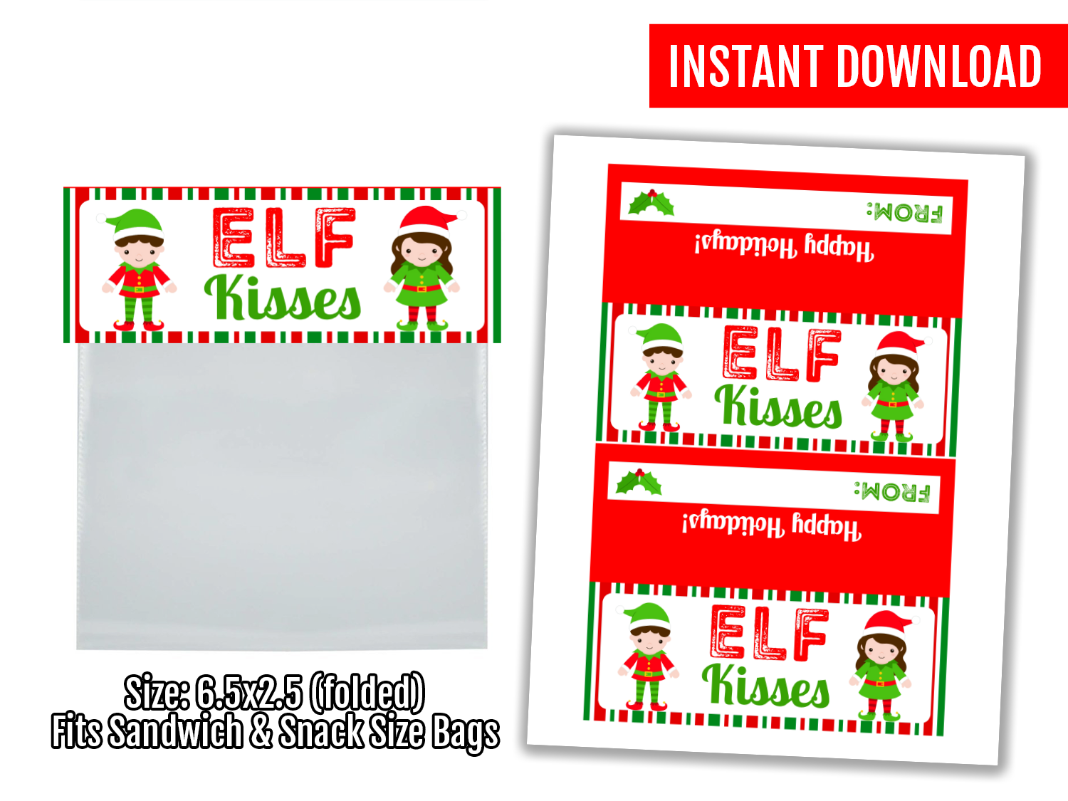 Elf Kisses Printable Treat Bag Topper, Student Exchange Gift Ideas, Instant Download