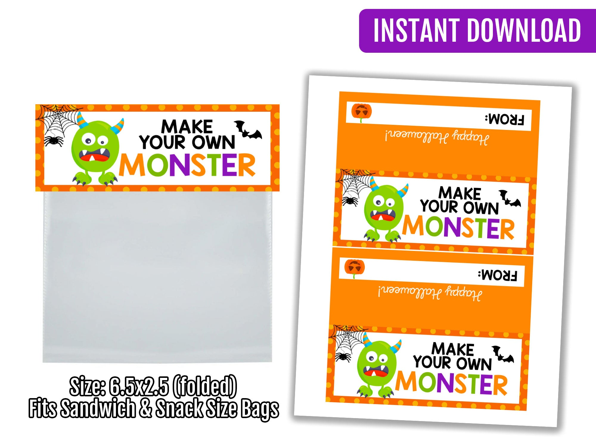 Build Your Own Monster Bag Topper, Printable Halloween Tag, Instant Download - TitaTipsPrintables
