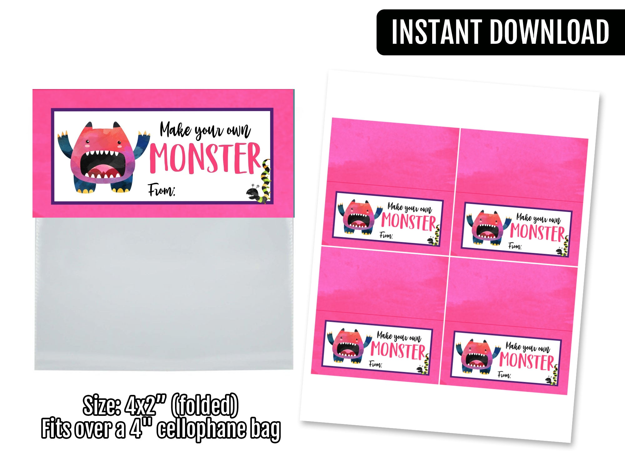 Build Your Own Monster Girl  Bag Topper, Printable Halloween Tag, Instant Download - TitaTipsPrintables