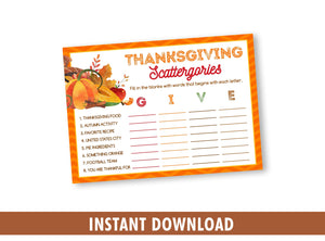 Thanksgiving Scattergories Printable Game for Kids and Adults, Games and Activities, INSTANT DOWNLOAD - TitaTipsPrintables