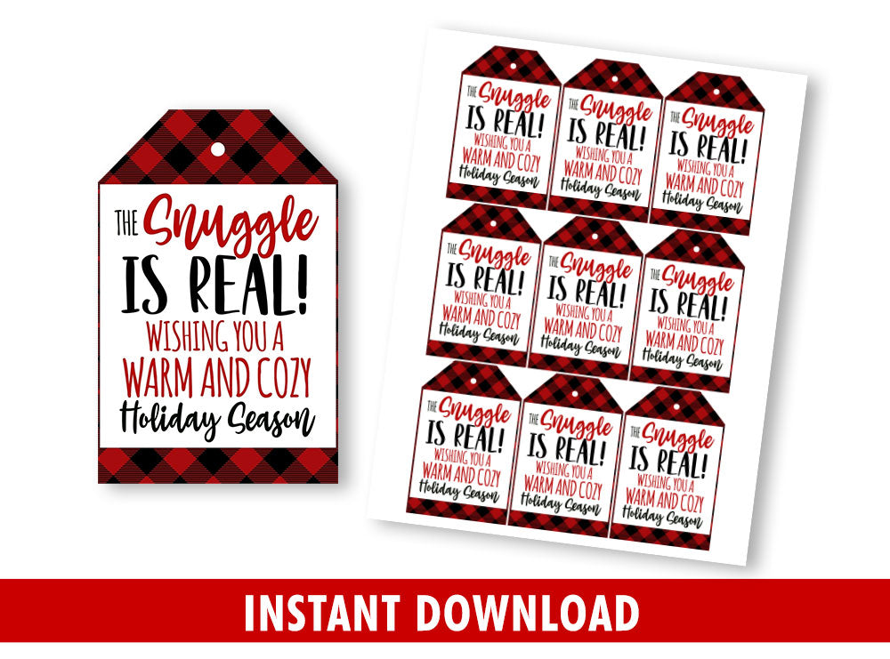 The Snuggle Is Real Gift Tags, Warm & Cozy Favor Tags, Buffalo Plaid Printable Gift Ideas