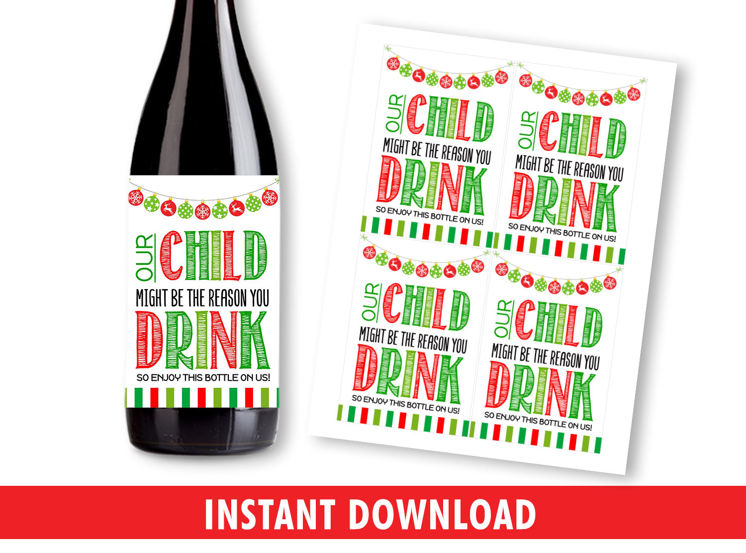 Funny Wine Bottle Labels for Teachers, Our Child The Reason You Drink, Gift Appreciation Ideas, INSTANT DOWNLOAD