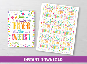 SWEETEST Year Gift Tags, Candy, Lollipop Favors Cards, Classmates Exchange Ideas [INSTANT DOWNLOAD] - TitaTipsPrintables