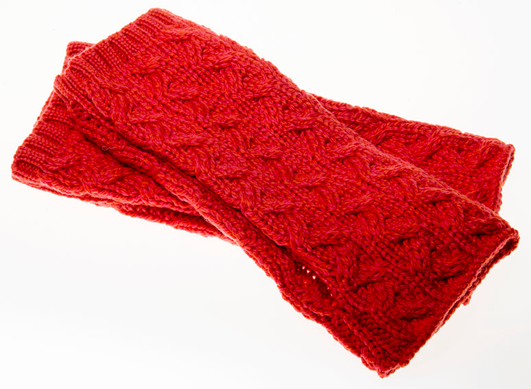 Supersoft fingerless coral mittens