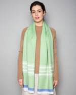 Load image into Gallery viewer, Green, White & Cobalt scarf