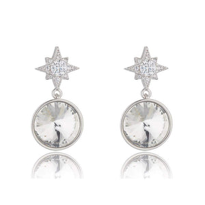 Crystal Star Rhodium Earrings