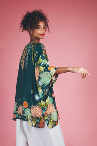 Velvet Stork Cushion Cover - Green