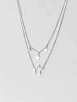 Load image into Gallery viewer, Double Strand Silver Star Necklace