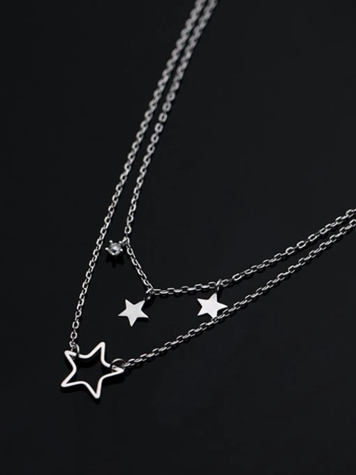 Double Strand Silver Star Necklace