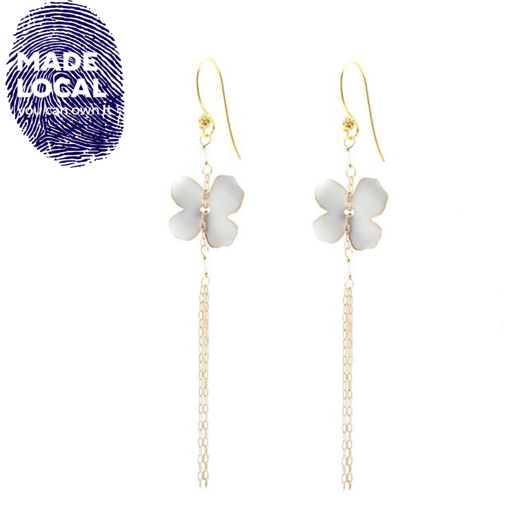 Flower Fringe Earrings White