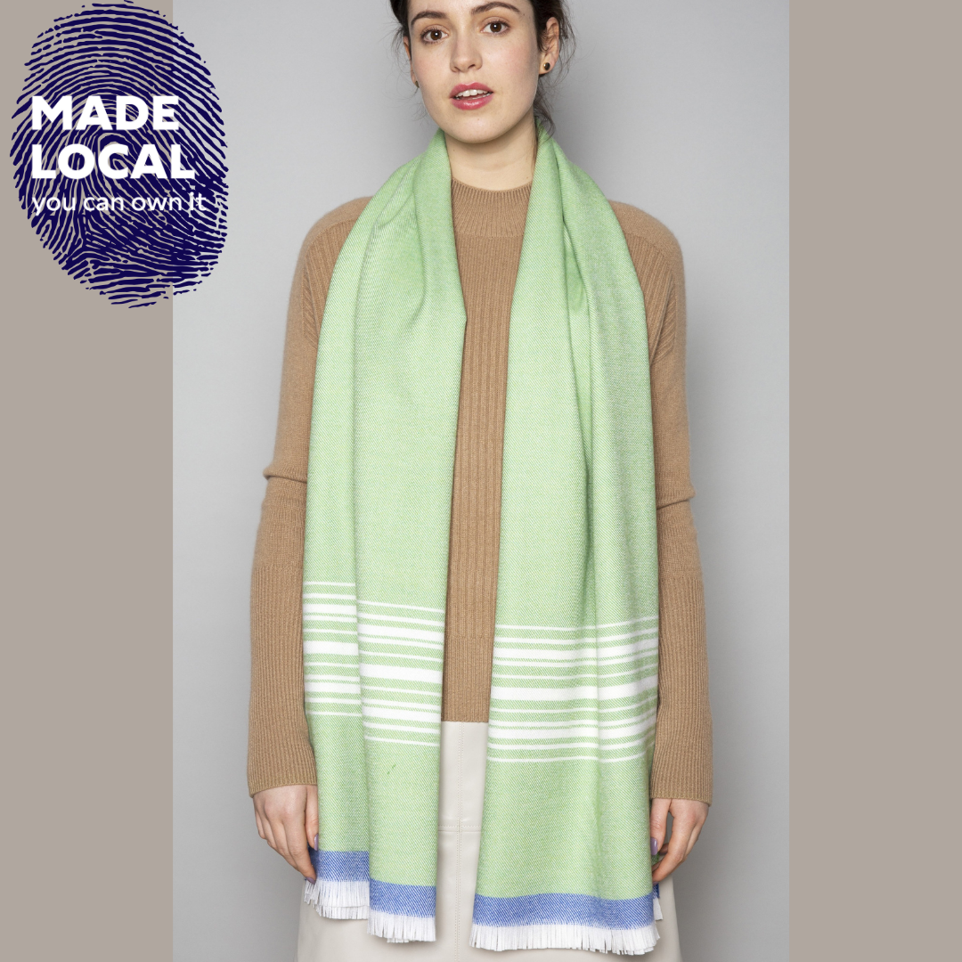 Green, White & Cobalt scarf