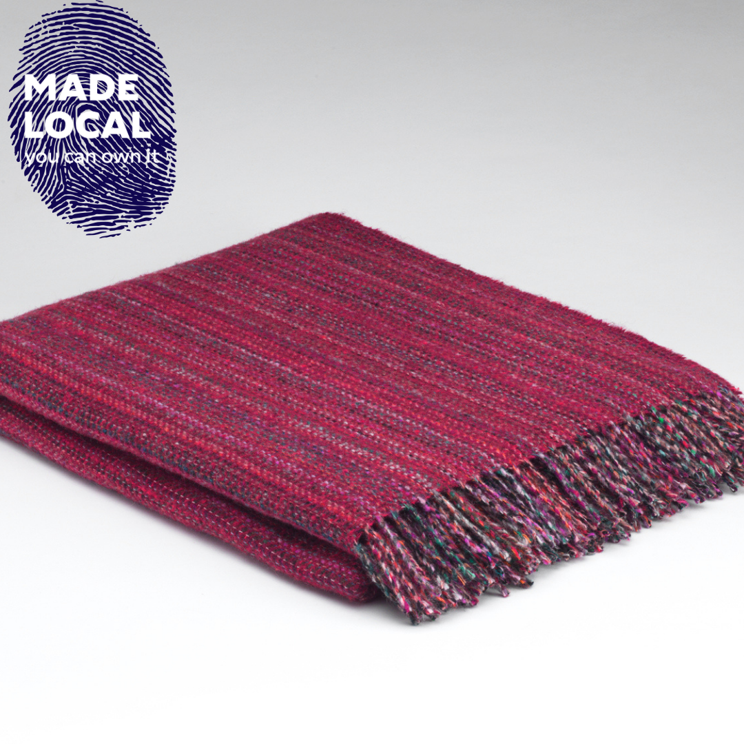 Heritage Fuschia Tweed throw