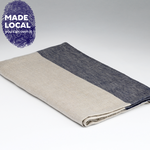 Load image into Gallery viewer, Linen Bath Towel - Natural & Navy