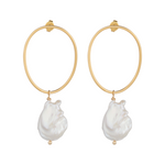 Load image into Gallery viewer, Baroque Wavy Circle Pearl Earrings
